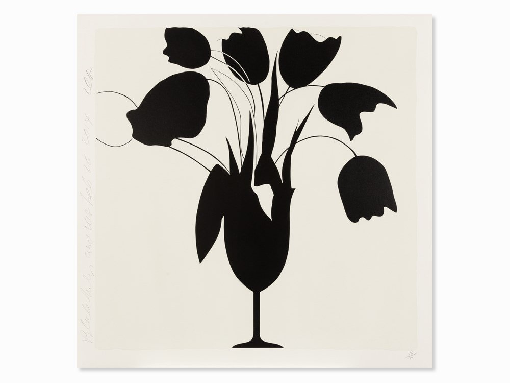 Donald Sultan, Black Tulips and Vase, Serigraph, 2014