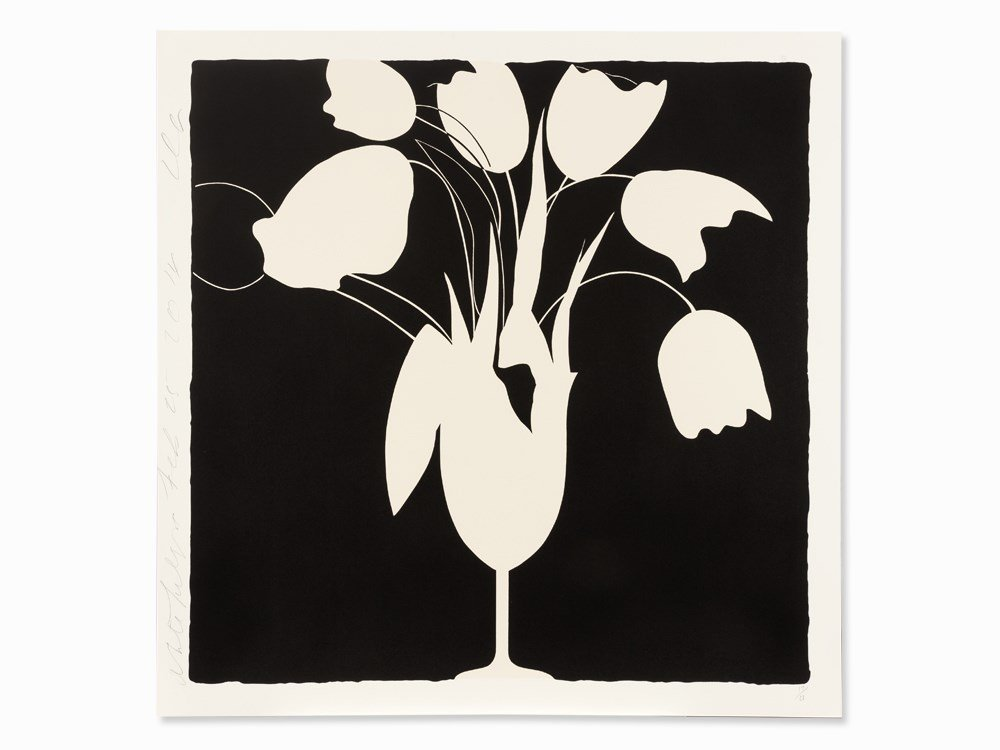 Donald Sultan, White Tulips and Vase, Serigraph, 2014