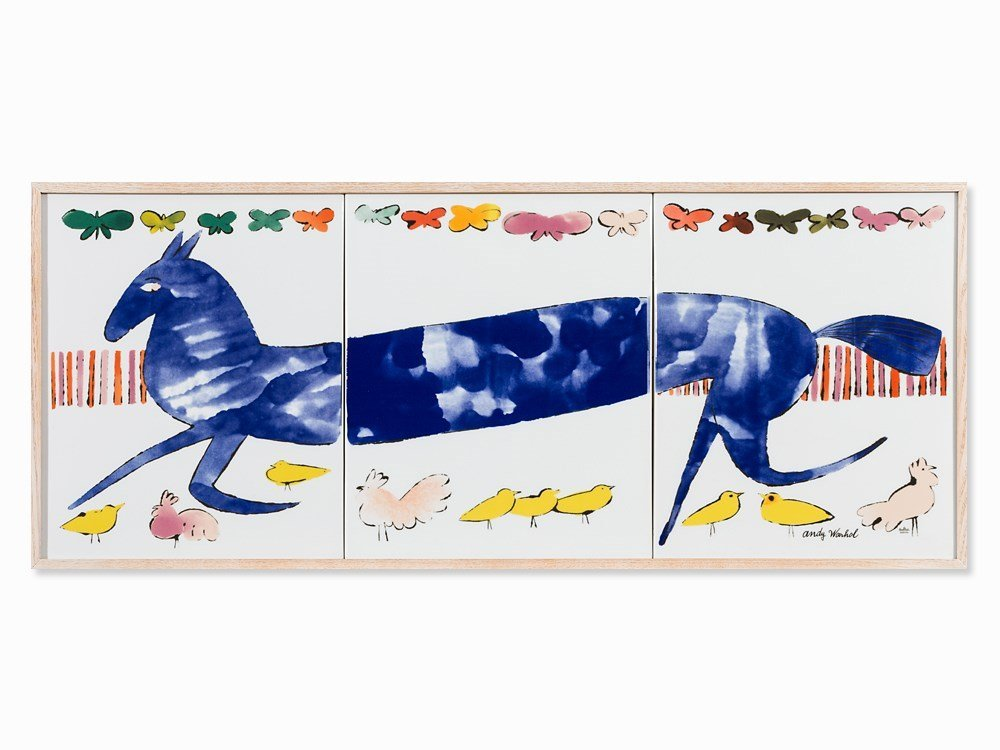 After Andy Warhol, Blue Horse, Porcelain, Wall Object