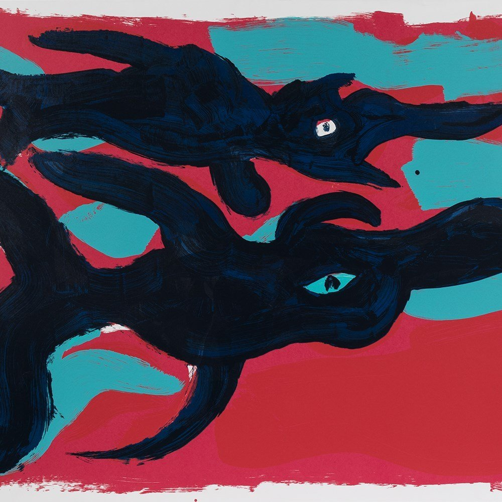 Rainer Fetting, Fische, Serigraph in Colors, 1989
