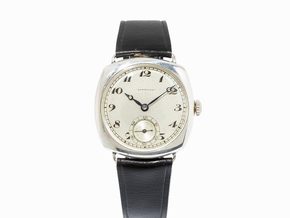Longines Silver Officer's Wristwatch, Switzerland, C.