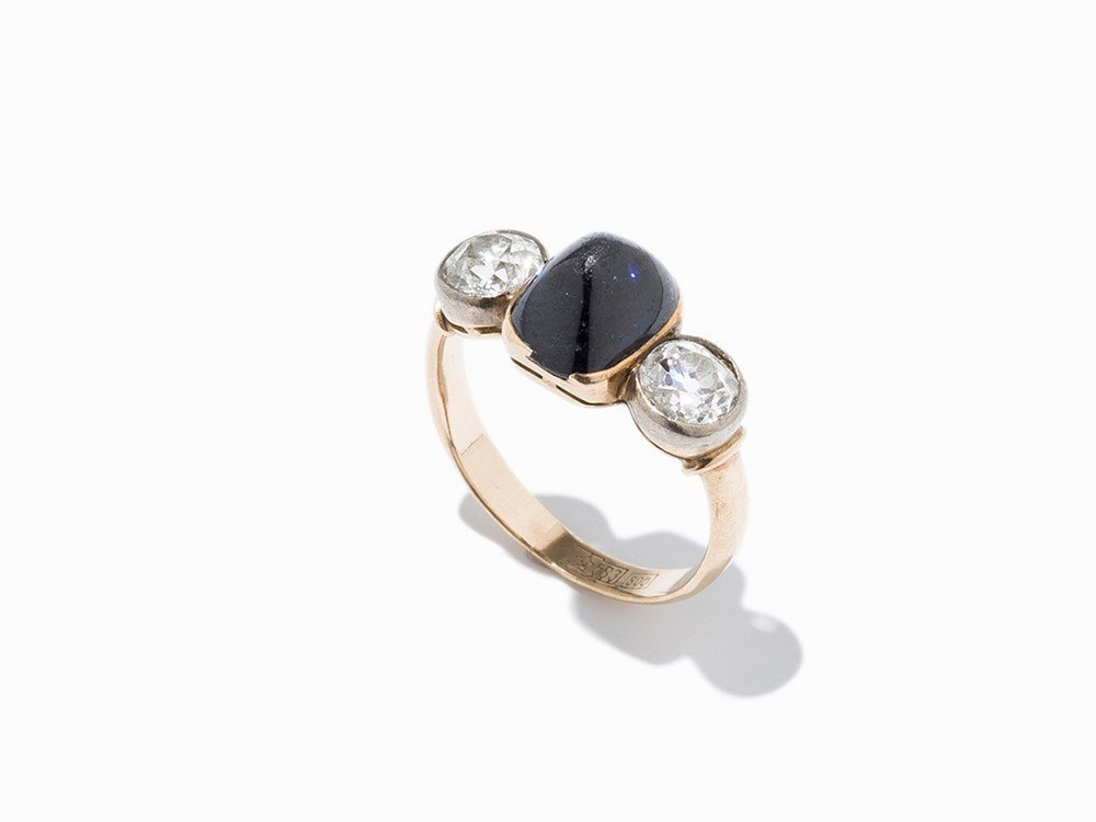 Rose Gold Ring with Central Sapphire & Diamonds of c.