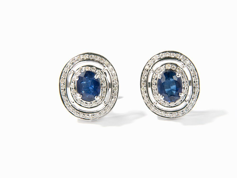Pair of Stud Earrings with 2 Sapphires & 100 Diamonds,
