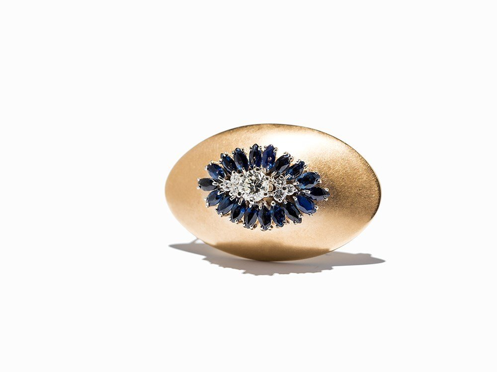 Oval Brooch with Sapphires and Diamonds, 14K Yellow