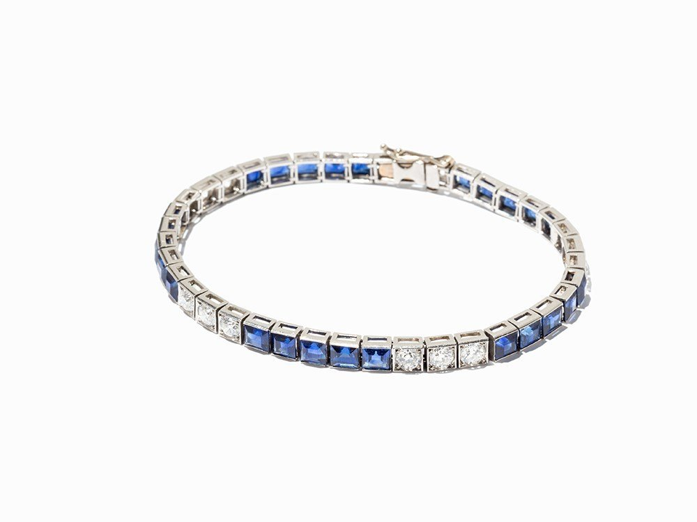 Platinum Bracelet, Studded with Diamonds and Sapphires,