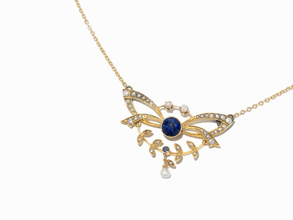 Sapphire Necklace with Pearls, 14K Gold, 2nd H. 20th C.