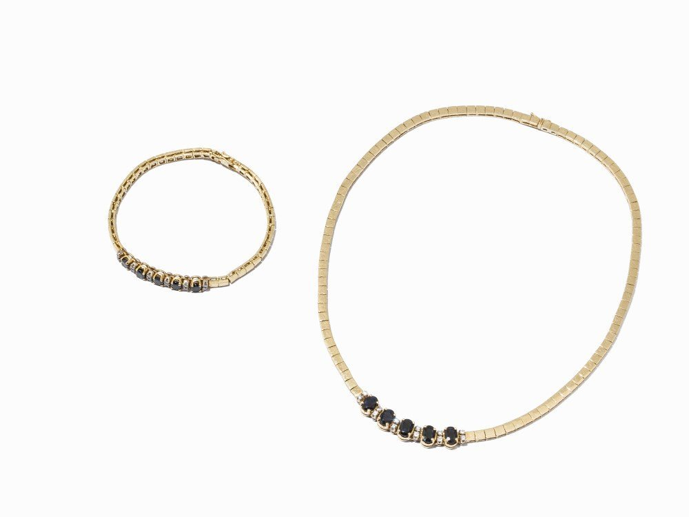 Jewelry Set with Collier and Bracelet, 18k Yellow Gold