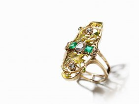 Ring With Old-cut Diamonds, Diamond Roses & Emeralds,