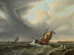Abraham Hulk I (1813-1897), Circle, Ships On Stormy