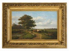 Verwée/verboeckhoven, Landscape With Shepherd, Mid 19th