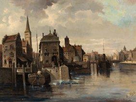 August Von Siegen (1820-1883), Cityscape, Oil, 19th