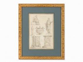 Hubert Robert (1733-1808), Antiques Study, Drawing,