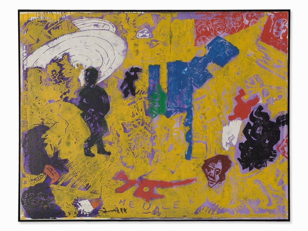 Jörg Immendorff (1945-2007), Heuler, Linolcut, 1988