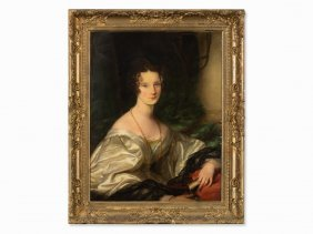 Portrait Of A Lady With Book, Oil Painting, C. 1800