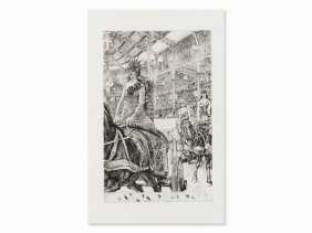 James Tissot, Ces Dames Des Chars, Etching, Trial