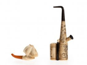 Two Pipes Made Of Bone, Horn And Meerschaum, Asia, 20th