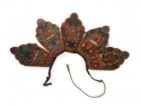 Tantric Five Leaf Lama Crown, Hand-painted, Tibet,