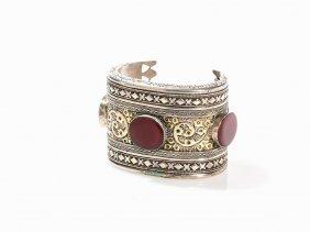Turkmen Silver Cuff Bracelet With 3 Carnelians,