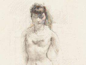 Walter Roshardt, Charcoal Drawing, Nude With A Cloth,