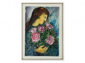 Watercolor, Woman In Profile With Flower Bouquet,