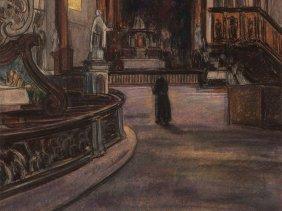 """Pastel """"basilica Vierzehnheiligen"""" By J. J. Doeser,"""