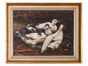 Adolf Lohmann, Oil Painting, Ducks On The Pond, Circa
