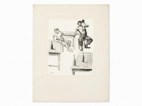 Hans Escher, Chalk Lithograph, 'bartrinker', Austria,