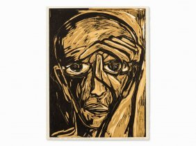 Josef Felix Müller (b. 1955), Woodcut In Colors, Head,