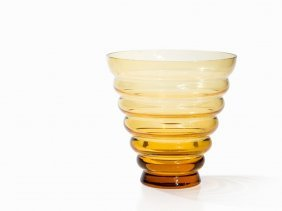 Theresienthal, Crystal Glass Vase, Amber Tinted,