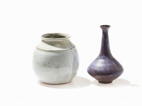 2 Ceramic Vases, Glazed And Speckled Wall, 20th C.