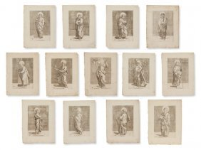 13 Engravings 'christ And The 12 Apostles', Ca. 1700