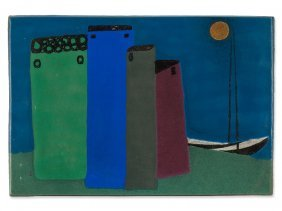 Drewes Zimmermann, Ceramic Wall Tile, Germany, 1913