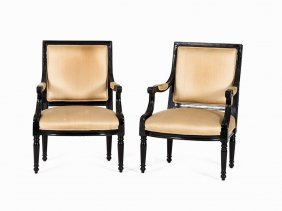 Pair Of Armchair In Style Empire, Presumably France, C.
