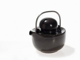 Ceramic Teapot, Bulbous Form With Short Spout, 1970s