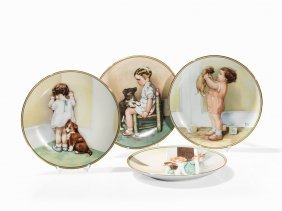 Bessie Pease Cutmann, 4 Porcelain Plates, Hamilton