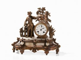 Mantle Clock With Courtly Musician, France, Around 1880