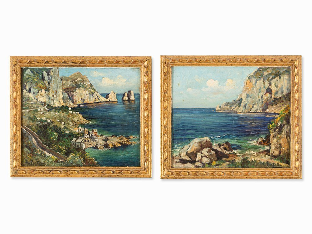 Attilio Pratella, Pair Of Coastal Views Of Capri,