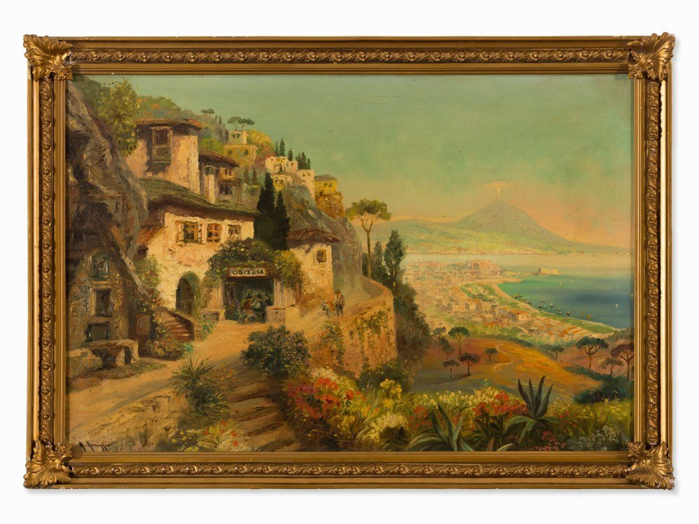 Alois Arnegger, Oil Painting, View of Naples, c. 1950