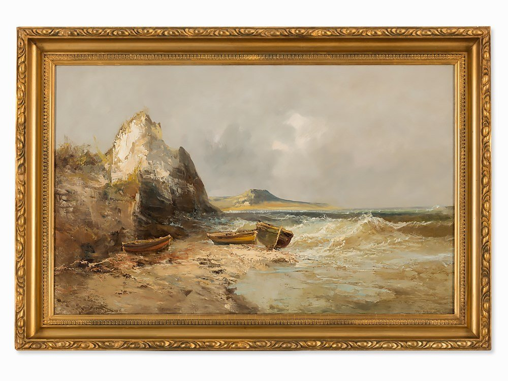 Emile Godchaux, Oil Painting, Seascape, France, c. 1900