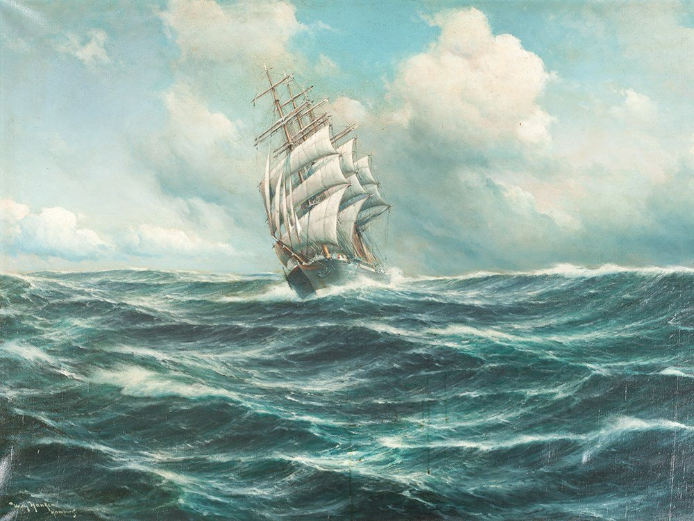 Willy Hanken, Oil Painting, Seascape, Germany, c. 1930