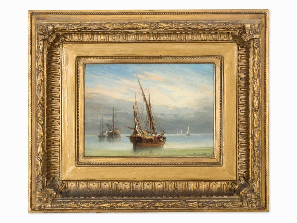 Sailing Boats on Calm Sea, Oil Painting, pres. Italy,