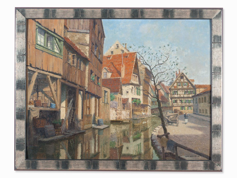 Hans Ranzoni the Elder, Oil Painting, Townscape of Ulm,