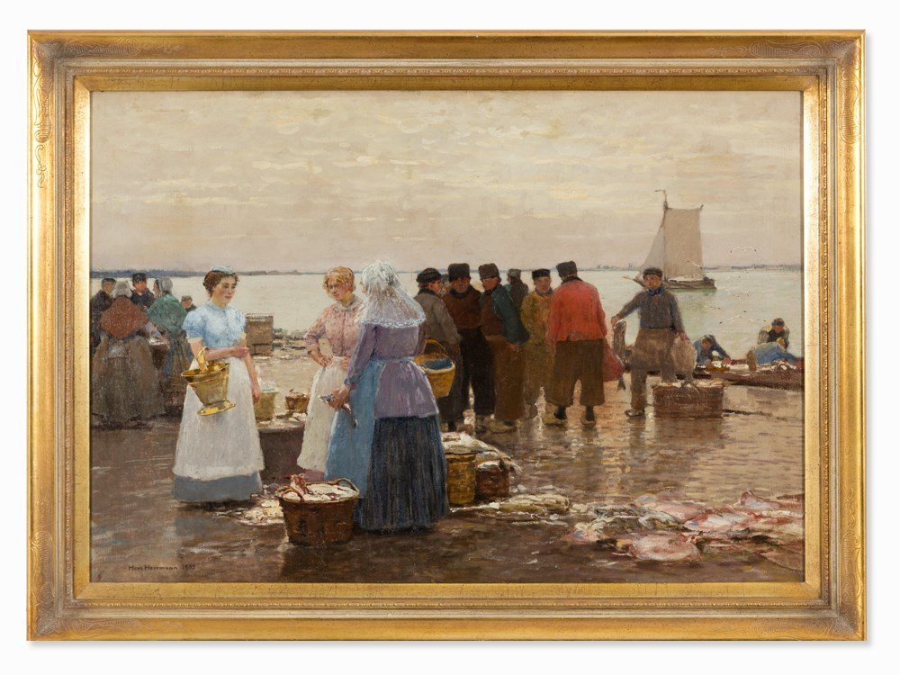 Hans Herrmann (1858-1942), At the Fish Market, Oil,