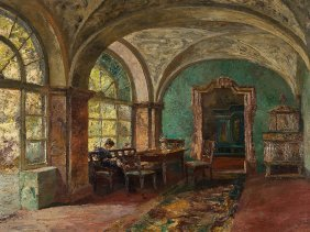 Paul Barthel (1862-1933), Interior With Lady, Oil, C.