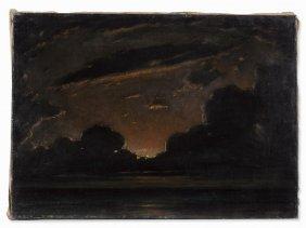 Robert Büchtger (1862-1951), Sunset Over The Sea, Oil,