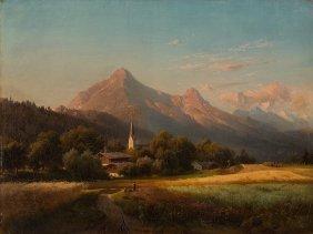 Adolf Nickol (1824-1905), Alpine Landscape, Oil, C.