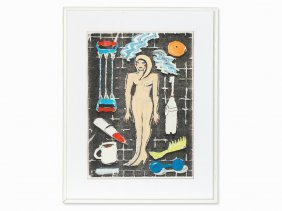 Elvira Bach, Mixed Media, Female Nude With Accessories,