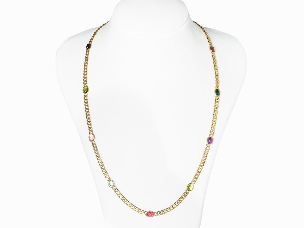 Necklace, Alternating with Tourmalines and Amethysts,