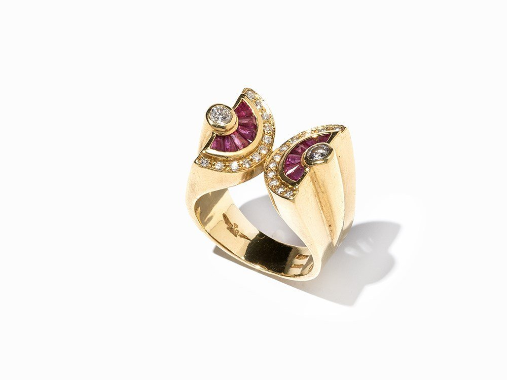 Ring with Rubies and Brilliant-Cut Diamonds, 18K Gold