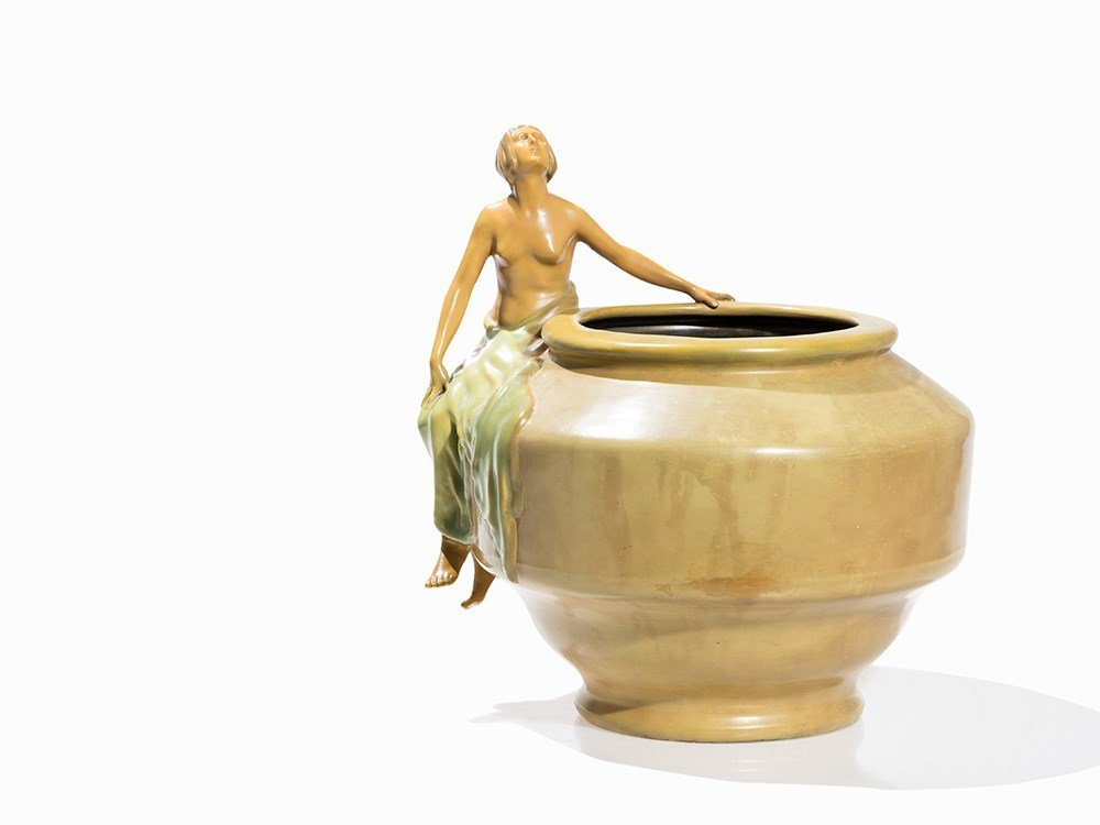 Vilmos Zsolnay, Figural Ceramic Cachepot, late 19th C.